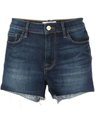 Frame Le Cut Off Denim Shorts Blue