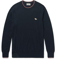 Maison Kitsune Slim Fit Stripe Trimmed Merino Wool Sweater Blue