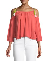 Cupcakes And Cashmere Bettie Cold Shoulder Tassel Tie Blouse Coral