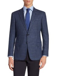 Armani Collezioni Plaid Wool Blend Jacket High Blue
