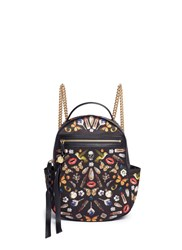 Alexander Mcqueen Small Obsession Print Satin Chain Backpack Black