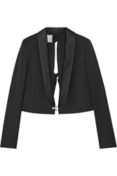 Lanvin Cropped Embellished Wool Twill Blazer Black