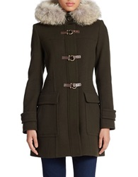 Trina Turk Coyote Fur Lined Hooded Toggle Coat Olive