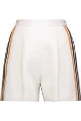 Msgm Pleated Striped Linen And Cotton Blend Shorts Cream