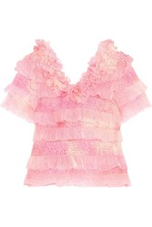 Ryan Lo Tiered Sequined Tulle Top
