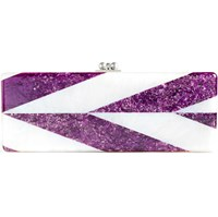 Edie Parker Pink And White Acrylic Clutch Silver