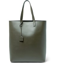 Saint Laurent Full Grain Leather Tote Bag Army Green
