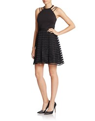 Guess Striped Halter Fit And Flare Dress Black