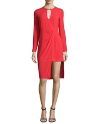 Halston Long Sleeve Draped Front Dress Lipstick