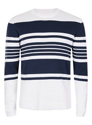 Topman White And Navy Stripe Jumper