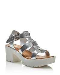 Charles David Bella Metallic Platform Mid Heel Sandals Silver