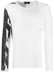 Stone Island Shadow Project Printed Long Sleeved T Shirt White