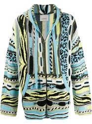 Laneus Jacquard Knit Hooded Cardigan Blue