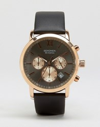 Sekonda Chronograph Black Leather Watch With Grey Dial Exclusive To Asos Black