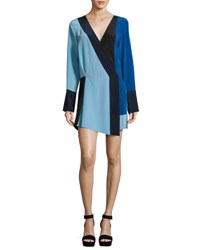 Diane Von Furstenberg Colorblock Silk Crossover Mini Dress Blue