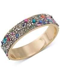 Abs By Allen Schwartz Gold Tone Stone And Crystal Inlay Bangle Bracelet