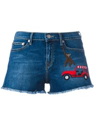 Mira Mikati Embroidered Patch Denim Shorts Blue