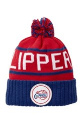 Mitchell And Ness Los Angeles Clippers Pom Beanie Red