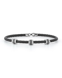 Alor Black Stainless Steel And Diamond Cable Bracelet 0.11Tcw