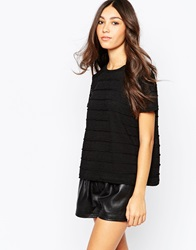 Soaked In Luxury Short Sleeve Textured Top Black