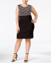 Connected Plus Size Tiered Sequined Sheath Dress Black Silver