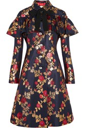 Gucci Crystal Embellished Metallic Floral Jacquard Coat Midnight Blue