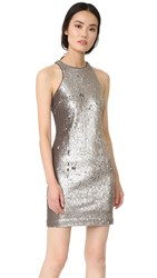 Halston Racer Back Sequined Dress Antique Silver