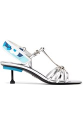 Prada Metallic Leather Slingback Sandals Silver