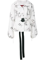 Moncler Gamme Rouge Floral Patch Hooded Jacket White
