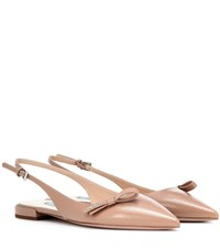 Prada Leather Slingback Ballet Flats Neutrals