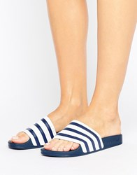 Adidas Originals White And Navy Adilette Slider Sandals Adiblue Multi