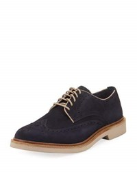 Cole Haan Monroe Suede Wing Tip Oxford Blue