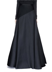 Lanvin Slant Panel Wool Silk Long Flare Skirt Black