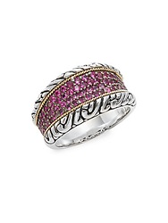 Effy 925 Ruby Sterling Silver And 18K Yellow Gold Ring Silver Red