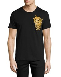 Alexander Mcqueen Golden Flocked Baroque Skull T Shirt White Pattern