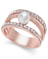 Charter Club Rose Gold Tone Imitation Pearl And Pave Statement Ring Only At Macy's