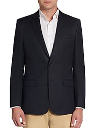 Versace Regular Fit Solid Flax Cotton Sportcoat Blue
