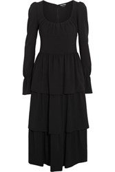 Tom Ford Tiered Stretch Wool Crepe Dress Black