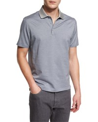 Ermenegildo Zegna Printed Short Sleeve Polo Shirt Gray