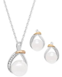 Macy's Cultured Freshwater Pearl 9 And 10Mm And White Topaz 1 6 Ct. T.W. Pendant Necklace And Earrings Set In Sterling Silver And 14K Gold Two Tone