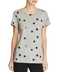 French Connection Beaded Star Print Tee Grey Melange Black
