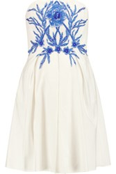 Marchesa Notte Embellished Cotton And Silk Blend Faille Mini Dress Ivory