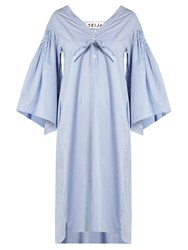 Teija V Neck Striped Cotton Dress Light Blue