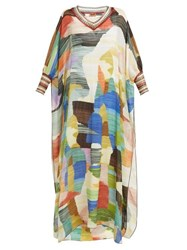 Missoni Paint Print Knitted Trim Silk Dress Cream Multi