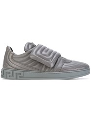 Versace Quilted Trainers Men Leather Rubber 42.5 Grey
