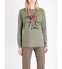 Stussy Rose Print Cotton Jersey Top Olive