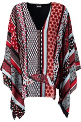 Just Cavalli Paneled Printed Chiffon Poncho Red