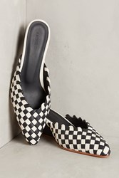 Anthropologie Rachel Comey Simone Woven Wedge Mules Black Motif