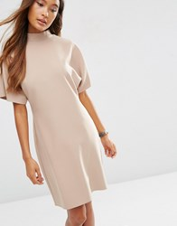 Asos Short Sleeve High Neck Pencil Dress Nude Pink