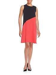 Calvin Klein Asymmetrical Seamed Two Tone Shift Dress Black Red
